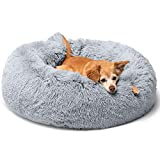 MIEMIE Round Fluffy Plush Calming Dog Bed Cat Bed Soft Shag Fur Pet Bed Self-Warming Anti Anxiety Donut Cuddler, Light Grey, Large