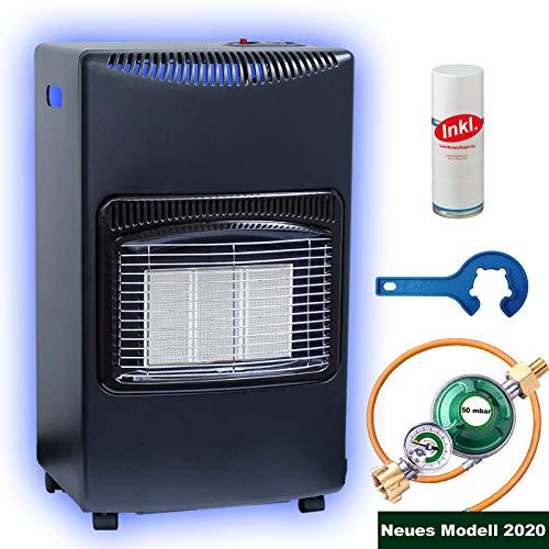 Gasofen Heizofen Infrarot Gas-Heizstrahler 4,2 kW Campingheizung für Propangas-Kleinflaschen inkl. Schlauch Gasregler Lecksuchspray Set