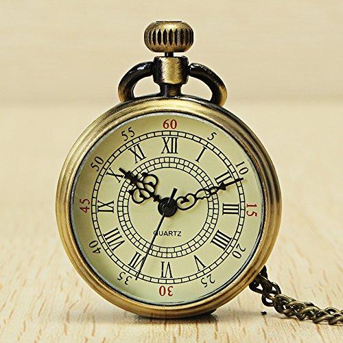 Reloj de bolsillo con cadena de números romanos de bronce vintage