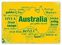 Australian Slang 注意看板メタル安全標識注意マー表示パネル金属板のブリキ看板情報サイントイレ公共場所駐車ペット誕生日新年クリスマスパーティーギフト