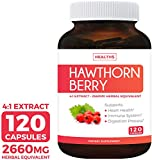 Hawthorn Berry 4:1 Extract (120 Capsules) Supports Healthy Blood Pressure, Circulation, Heart Health