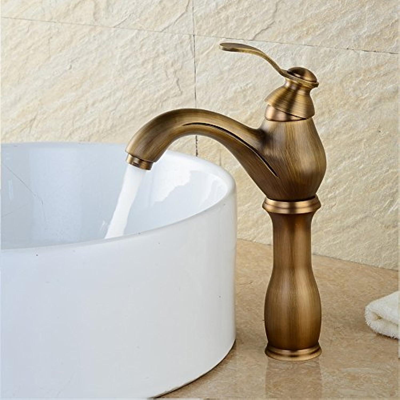 LHbox Bad Armatur in Bad für Waschbecken Waschtisch Wasserhahn Waschtischarmatur Alle Kupfer Antik Hahn Waschbecken mit kaltem Wasser aus der Badewanne Tippen