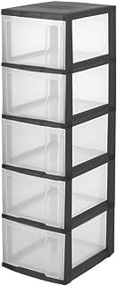 Iris Ohyama, tour de rangement sur roulettes à 5 tiroirs - New Chest - NMC-305, plastique, noir/transparent, 30 x 38 x 102 cm
