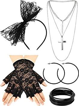 80s Fancy Dress Costume Accessories Lace Headband Earrings Fishnet Gloves Necklace Bracelet for 80s Retro Party  Style A