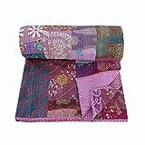 NANDNANDINI TEXTILE - Manta de estilo indio, vintage, para salón, dormitorio, decoración de algodón bordado, juego de ropa de cama, hecha a mano, colcha kantha antigua