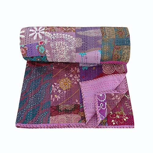 NANDNANDINI TEXTILE Manta vintage india para sala de estar, dormitorio, decoración de algodón bordado, colcha antigua Kantha, juego de ropa de cama hecha a mano con patchwork, Kantha