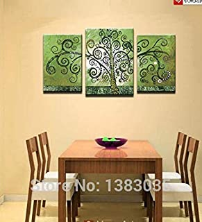 DIU Hand Painted Tree Of Life Green Canvas Art 3 Piece Modern Abstract Wall Paintings Set Oil Picture Home Decoration