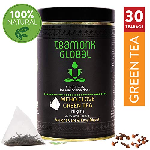 Teamonk Meho Nilgiri té verde Clavo - 30 bolsitas de té | Premium té verde Clavo | té para bajar de peso | té adelgazante | ayuda a mejorar la digestión | té de clavo natural | sin aditivos