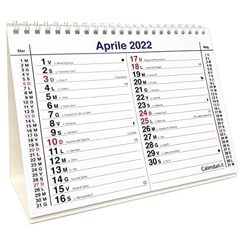 Calendario 2022 da tavolo olandese santi e lune cm 20x15 per ufficio casa e lavoro (16...