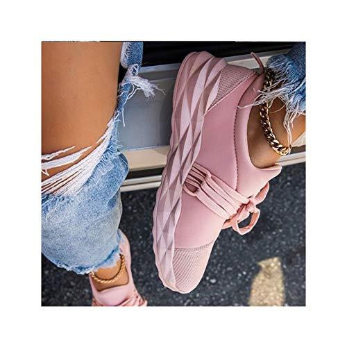 HaoLin Señoras Que Caminan Las Zapatillas de Deporte de Los Zapatos Corrientes de Los Zapatos Deportivos Transpirables Ocasionales del Dedo del Pie Redondo para Las Mujeres,Pink-41