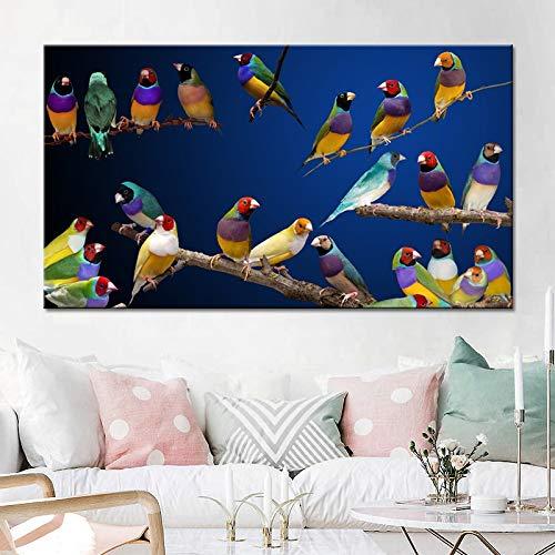 yaonuli Kunst auf Holz Zweigen Bunte Vogel Landschaft Ölgemälde auf Leinwand Kunst Poster Wandmalerei Dekoration rahmenlose Malerei 60x90cm