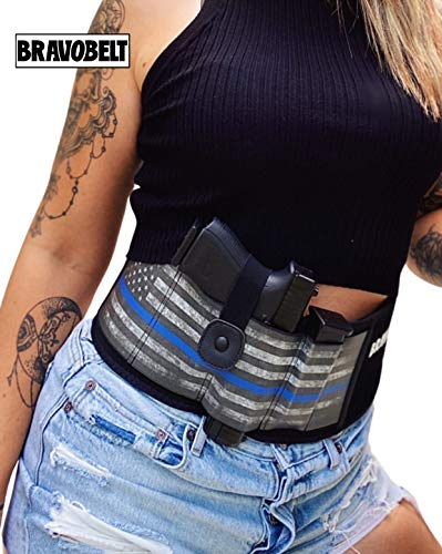 "BRAVOBELT Blue Line Edition Belly Band Holster for Concealed Carry - Athletic Flex FIT for Running, Jogging, Hiking - Glock 17-43 Ruger S&W M&P 40 Shield | for Men & Women (Up to 44"" Belly)"