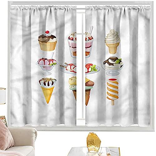 Cortinas para dormitorio, helado, sabrosos postres con jarabe de 42 x 63 pulgadas, cortinas de bolsillo para barra para dormitorio