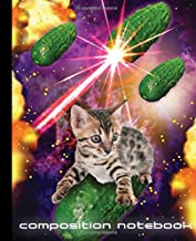 Composition Notebook: Funny Space Cat vs. Laser Cucumbers! 7.5