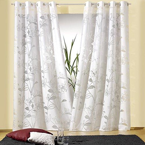 heimtexland Gardine Ösenschal HxB 245x140 cm in Natur chic mit Ausbrenner-Blumen - Dekoschal mit sehr schönem Fall - Vorhang in geprüfter Top Qualität.auspacken, aufhängen, fertig! Typ206