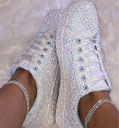 MTHDD Zapatos de Lona Planos Otoño Mujeres de Las Mujeres Ocasionales Bajo Zapatos Perezosos Transpirables,Plata,38