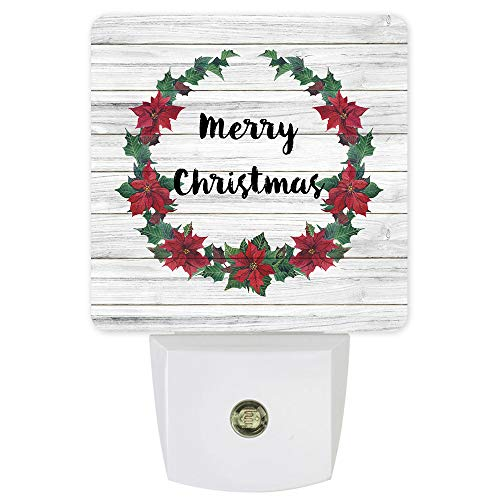 Night Light Plug in Wall with Dusk to Dawn Sensor Poinsettia Flowers Garland Vintage on Wooden Board Plug in Wall Night Light with Motion Sensing,Ideal for Bedroom and Nursery