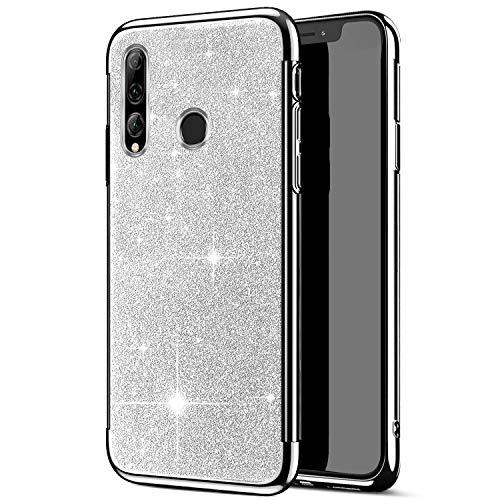 Qjuegad Coque Compatible avec Huawei P Smart Plus 2019 Étui Ultra Slim Pailleté Glitter Placage Housse de Protection Antichoc Souple Silicone Bumper Case Back Cover pour Huawei P Smart Plus, Argent