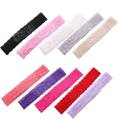 Sanwood Lot de 12 bandeaux extensibles en dentelle motif roses pour fille