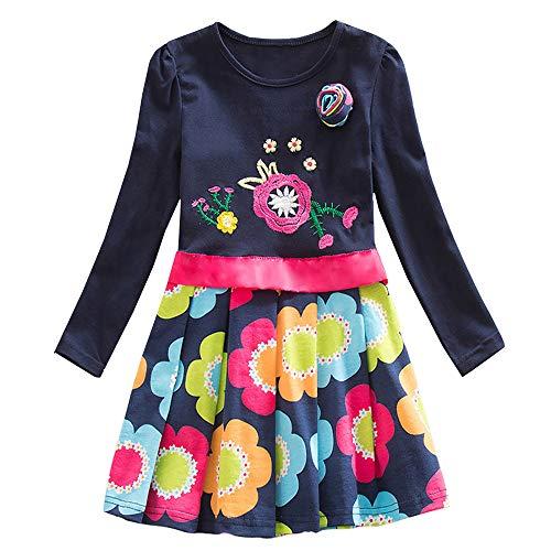 VIKITA Mädchen Blumen Langarm Baumwolle Kleid EINWEG LH5868BOR 5T