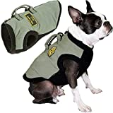 Gooby Military Dog Vest - Green, Medium - Dog Jacket Coat with Lift Handle and D Ring Leash - Zipper Closure and Stretch Chest Small Dog Sweater- Dog Clothes for Small Dogs for Indoor and Outdoor Use