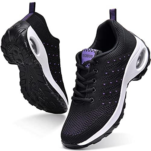 JIANKE Zapatillas Deportivas de Mujer Transpirables y Ligero Zapatos de Malla Cojín de Aire Antideslizantes Shekers Negro, 40 EU