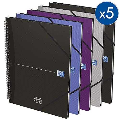 OXFORD 100102031 Meetingbook Essentials 5er Pack A4+ kariert 90 Blatt 4-fach gelocht Schreibblock Notizblock Briefblock Kladde Journal Skizzenbuch