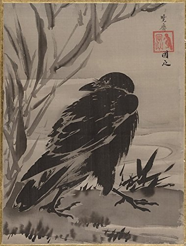 The Poster Corp Kawanabe Kyosai – Crow and Reeds by a Stream Kunstdruck (45,72 x 60,96 cm)