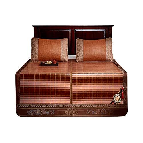 Cooling Topper Mattress Summer Sofa Bed Bamboo Rattan Matte Cooling Topper Colchón Cojín Cojín Suave con aire acondicionado Estera Cama plegable con funda de almohada 3 Tamaños (Tamaño: 1,5 x 1,95 m)