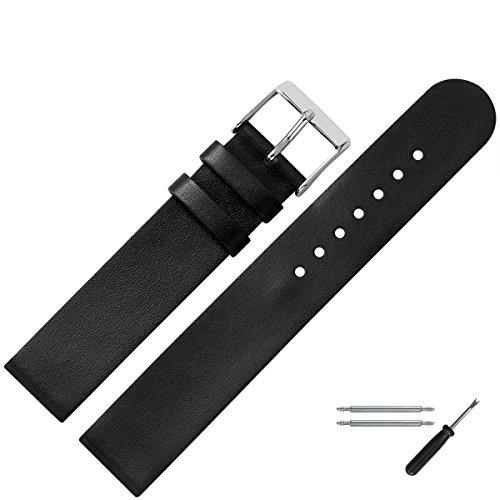 MARBURGER Uhrenarmband 18mm Leder Schwarz - Werkzeug Montage Set 2721810000120