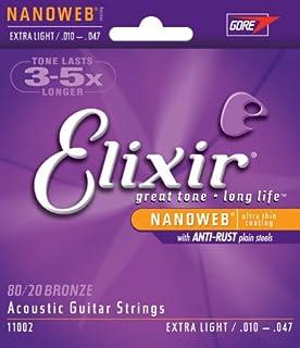 Elixir 11002 80/20 Bronze Nanoweb Coating Acoustic Guitar Strings, Extra Light, 10-47 (7 Pack)