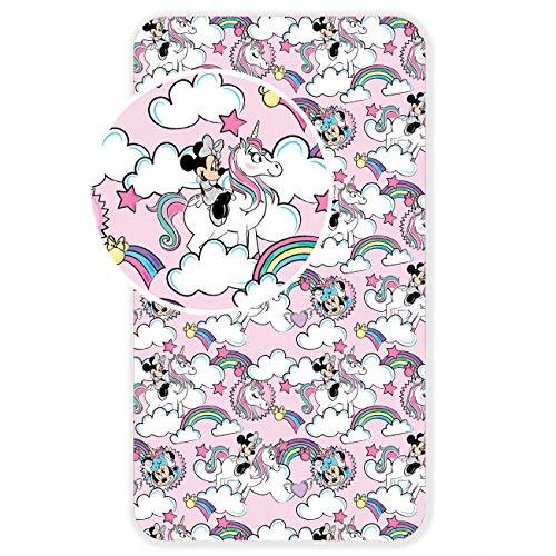 Disney L-S Kids Boutique Minnie Drap Housse 90 x 200 cm pour lit Une Personne 100% Coton Unicorn