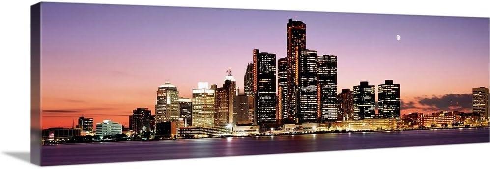 GREATBIGCANVAS Night Skyline Detroit Max 54% OFF MI D Art Wall Canvas Fashion Print