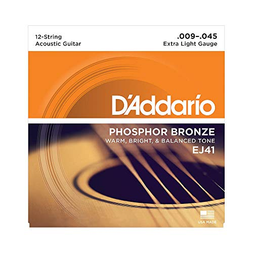 D'Addario EJ41 Phosphor Bronze Extra Light (.009-.045) 12-String Acoustic Guitar Strings