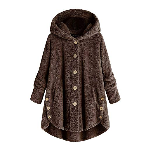 MIRRAY Damen Knopf Mantel Flaumige Endstück Oberseiten mit Kapuze Pullover Verlieren Strickjacke