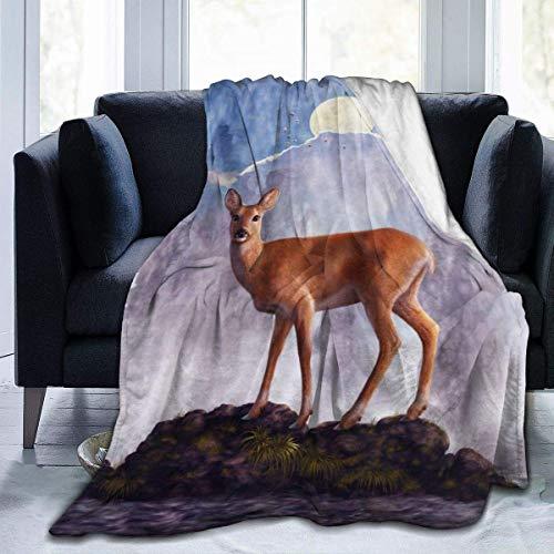 Manta de vellón con Pintura de Ciervo, Manta Suave y cálida para niños y Adultos, Manta de Microfibra de Felpa para sofá, Cama, Manta difusa
