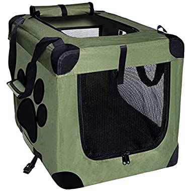 EXPAWLORER Collapsible Foldable Dog Crate, Indoor/Outdoor Pet Home, Deluxe Pet Carrier, Green XXXL 40-Inch