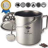 Camping Coffee Cup Titanium Mug, Bestargot® Outdoor French Press Pot, Camp Cooking Pot, Multi-Functional Travel Mug, Pot, Capacity 25 Fl Oz, Light and Portable 7.7 Oz