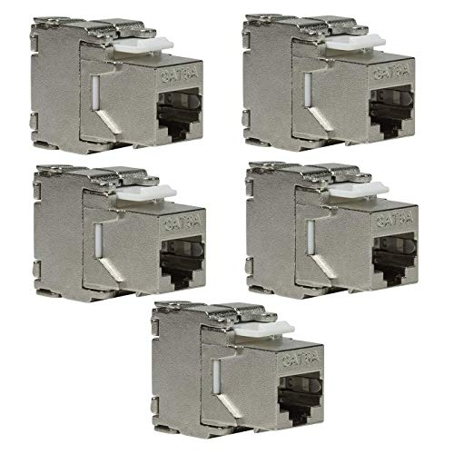 Faconet Keystone - Conector para montaje (5 unidades, CAT6A, RJ45, sin necesidad de herramientas, apantallado) Toolless - Punch Down Keystone Jack STP AWG 22-24 (17,2 mm de ancho)