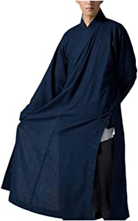 Traditional Mens Long Gown Buddhist Meditation Monk Robe Dark Blue
