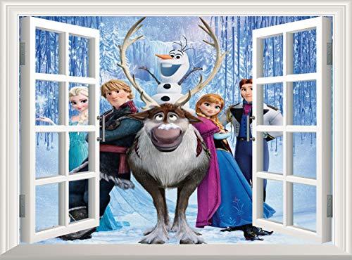 Frozen Wall Decal 3D Window Wall Sticker Elsa Anna Snowman Deer Removable Poster Wall Mural Wallpaper Vinyl Decor Kids Children Room Nursery (60x45 cm)