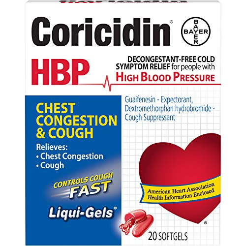 Coricidin HBP Chest Congestion & Cough Liquid Soft Gels, 20 ct (Pack 2)