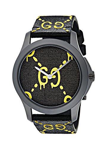 Gucci Unisex Erwachsene Datum klassisch Quarz Uhr mit Gummi Armband YA1264019