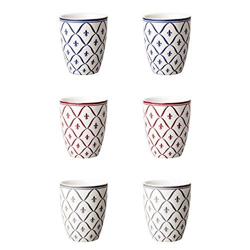 Depot d'argonne Fleur de lys Motif mélange 6 Mugs, céramique, Bleu/Rouge/Gris, 7.5 x 7.5 x 9 cm