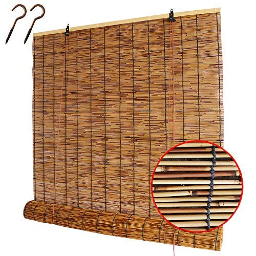YANJ Natural Reed Window Blinds,Retro Bamboo Roller Blinds Reed Curtain,Light Filtering Roll Up Blinds with Valance for Garden,Patio,Gallery,Balcony,Outdoor Indoor Furniture Decoration