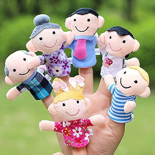 CHENPINBH Plüschtiere 6 stück Familie Modelling Finger Cover plüsch Spielzeug Baby kognition Hand Spielzeug Finger Puppen Puppe Familie Finger Abdeckung Spielzeug (Color : 1)