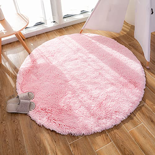 GaoTuo Alfombra de imitación de Piel de Cordero, Artificial Alfombra, excelente Piel sintética de Calidad Alfombra de Lana ,Adecuado para salón Dormitorio baño sofá Silla cojín (Rosa, 120 x 120cm)