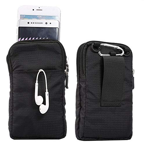 jbTec Handytasche zum Umhängen Nylon klein 165x90x30mm - Gürteltasche Handy Umhängetasche Gürtel Tasche Hüfttasche Case, Farbe:Schwarz