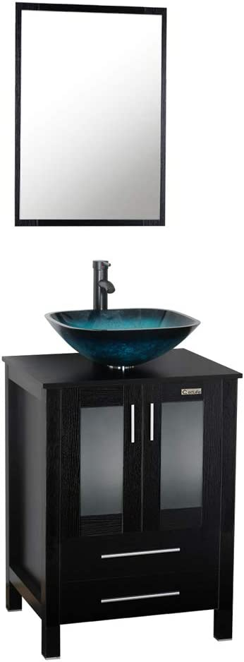 Buy 24 Inch Black Bathroom Vanity Square Tempered Glass Vessel Sink Combo 1 5 Gpm Faucet Oil Rubbed Bronze Bathroom Vanity Top With Sink Bowl 20 Inch Deep And 30 Water Saving Online In Indonesia B079r194w7
