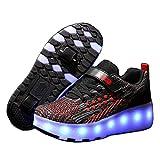 Super kids Fille Garçon Chaussures avec roulettes LED Lumières Clignotante Chaussures de Skateboard Multisports Outdoor Gymnastique Patins à roulettes Alignées Enfants Mode Baskets avec Roues